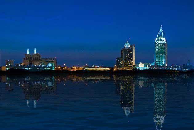 Mobile Alabama Skyline at Night